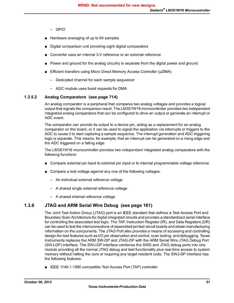 LM3S1W16-IQR50-C5 ,Texas Instruments厂商,Stellaris LM3S Microcontroller 64-LQFP -40 to 85, LM3S1W16-IQR50-C5 datasheet预览  第51页