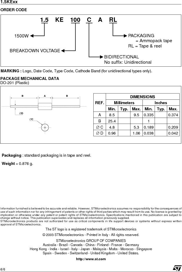 1.5KE12CA ,STMicroelectronics厂商,TRANSIL 1500W 12V BIDIR DO-201, 1.5KE12CA datasheet预览  第6页