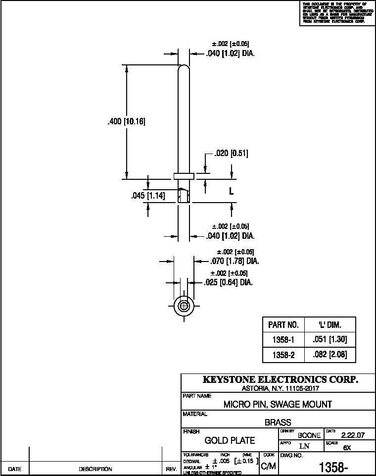 1358-2 ,Keystone Electronics厂商,PIN MICRO .082