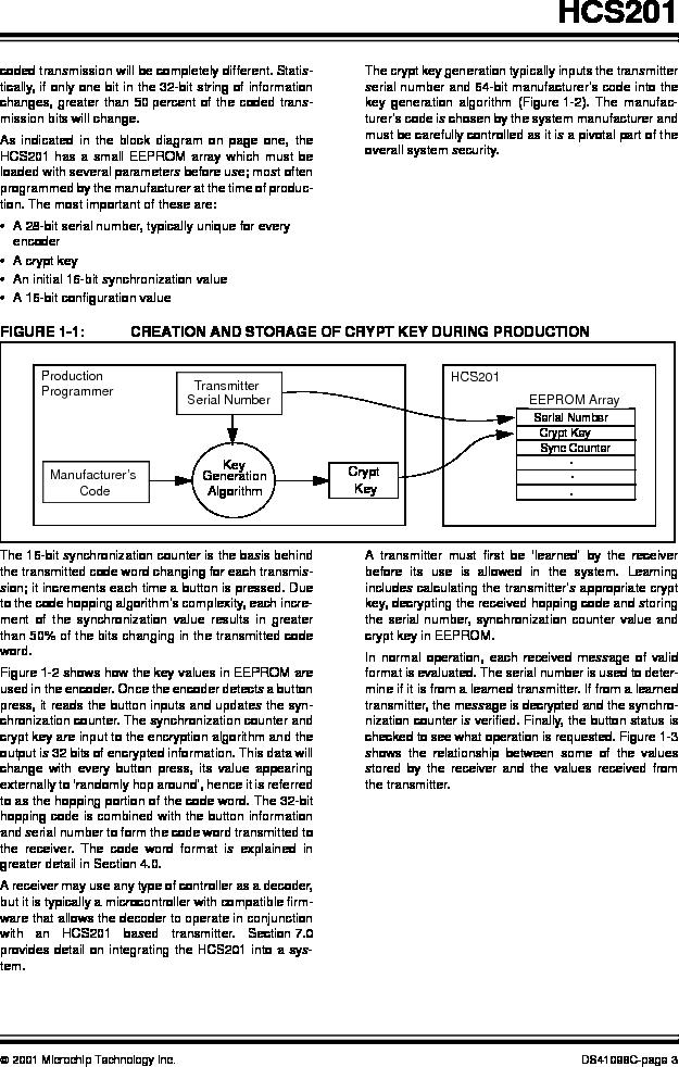 HCS201-I/SN ,Microchip Technology厂商,IC CODE HOPP ENCODER 7FUNC 8SOIC, HCS201-I/SN datasheet预览  第3页