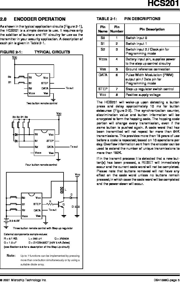 HCS201-I/SN ,Microchip Technology厂商,IC CODE HOPP ENCODER 7FUNC 8SOIC, HCS201-I/SN datasheet预览  第5页