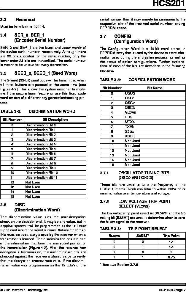 HCS201-I/SN ,Microchip Technology厂商,IC CODE HOPP ENCODER 7FUNC 8SOIC, HCS201-I/SN datasheet预览  第7页