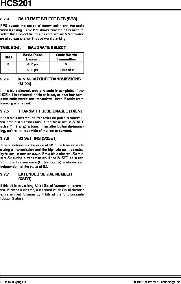 HCS201-I/SN ,Microchip Technology厂商,IC CODE HOPP ENCODER 7FUNC 8SOIC, HCS201-I/SN datasheet预览  第8页